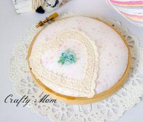 Embroidery hoop pincushion / pin cushion