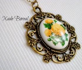 Price Reduced! Porcelain marigold flower pendant necklace