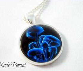 Blue mushroom glass pendant necklace